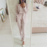 Taotrees Striped Office Lady Suits Work Pant Suit for Women Buttonless Blazer Jacket & Trouser 2 Piece Set