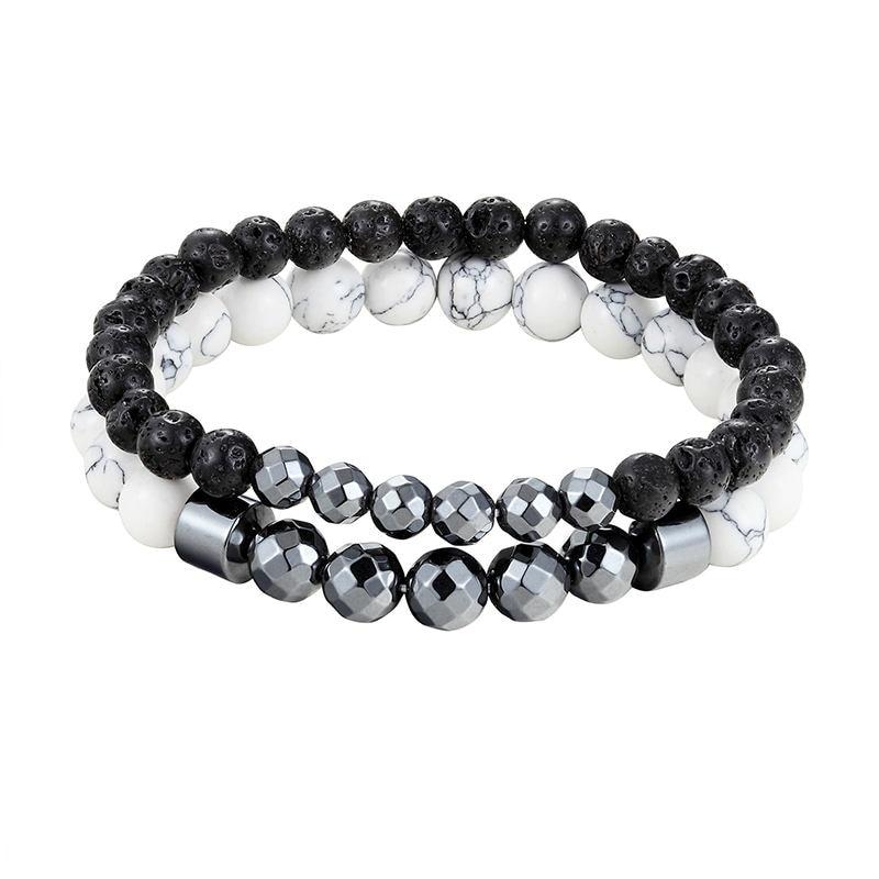 2 fashion 6mm 8mm natural volcanic stone beads couple bracelet ladies men couple lava beaded braided bracelet elastic bracelet