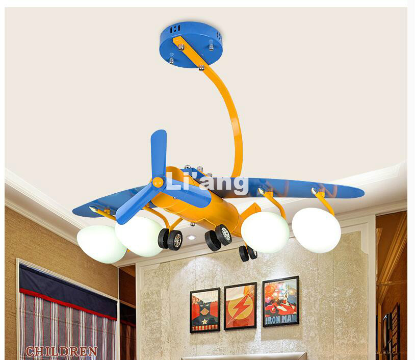 Free Shipping Modern Plane Kids Bedroom Cartoon Surface Mounted Ceiling Lights L70cm Modern Children Ceiling Lamps E27 Lighting