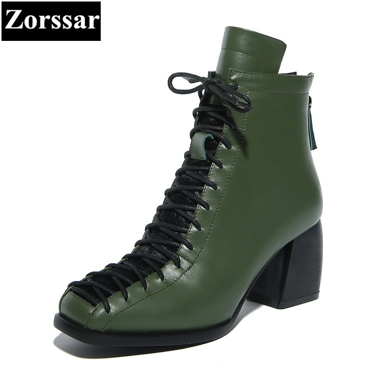 Фотография {Zorssar} 2018 new genuine leather Women Boots thick heel ankle Square Toe Motorcycle boots large size womens shoes winter boots