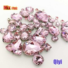 Sell at a loss! 50pcs/bag high quality mixed shape Pink glass sew on claw rhinestones,diy clothing accessories SWM06