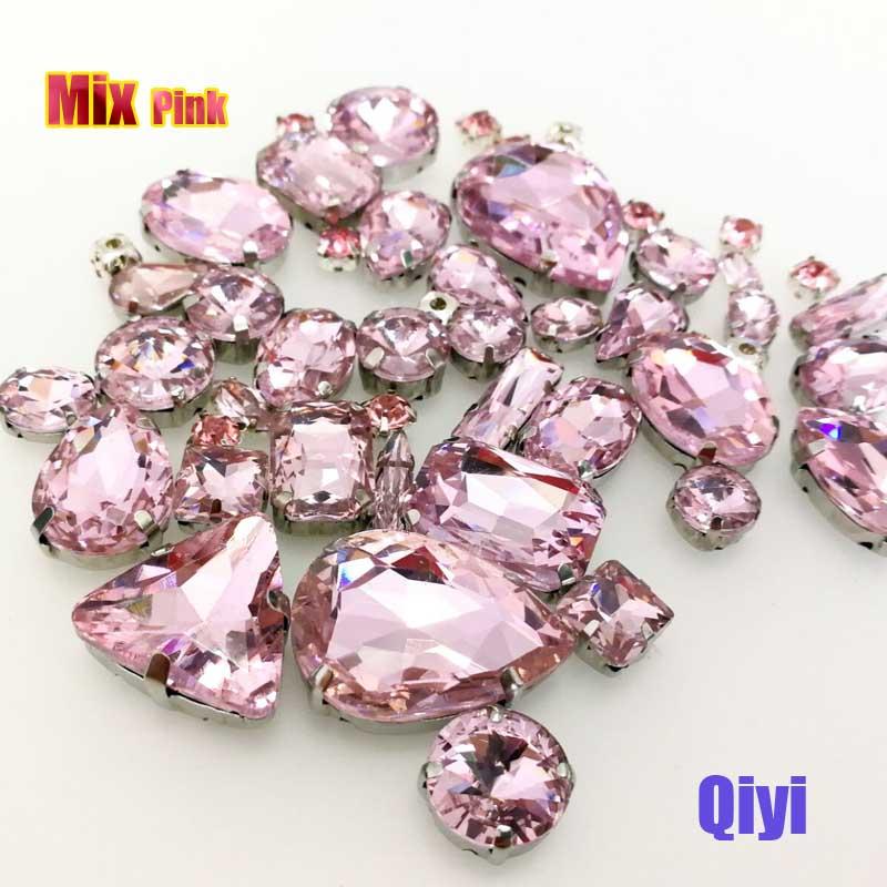 Vendre à perte! 50 pcs/sac de haute qualité forme mixte Rose verre coudre sur griffe strass, bricolage vêtements accessoires SWM06