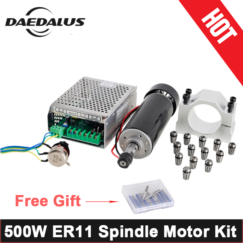 500W CNC Spindle Motor ER11 Air Cooled Spindle + Adjustable Power Supply + 52MM Clamps + ER11 Collet Chuck For Engraving Machine 500w spindle motor 0 5kw air cooled spindle er11 collet chuck adjustable power supply speed governor for pcb milling machine