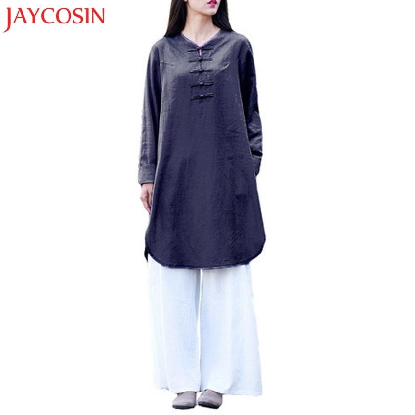 58a04c23088 JAYCOSIN Women Plus Size Bohemia Casual Solid Button Half Sleeve Cotton  Linen Dress z0803