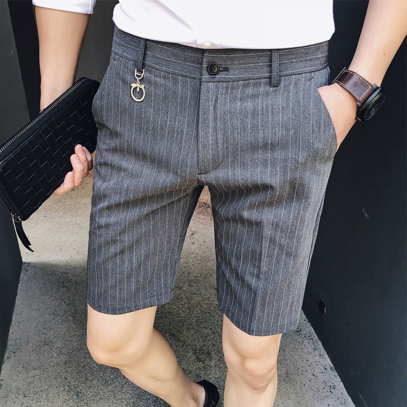 Fashion 2019 Shorts Men Summer New Slim Fit Striped Mens Shorts Knee Length Gentlemen Business Formal Wear Casual Short Men 3XL