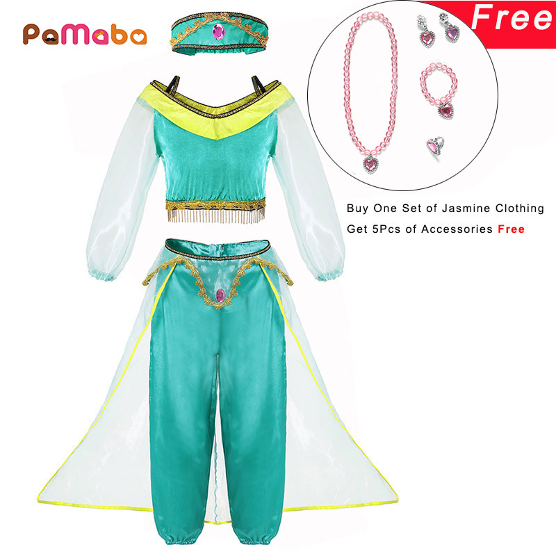 PaMaBa Girls Fancy Birthday Party Princess Dress up Jasmine Top and Pants Kids Aladdin and the Magic Lamp Cosplay Clothing Set the aladdin factor
