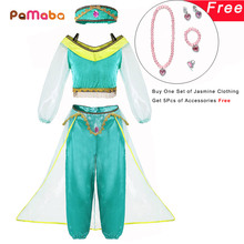 PaMaBa Girls Fancy Birthday Party Princess Dress up Jasmine Top and Pants Kids Aladdin and the Magic Lamp Cosplay Clothing Set цена и фото