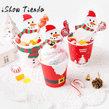 50PCS Santa Claus Penguin Lollipop Christmas Card lolly sugar-loaf Xmas Party Toy Natal Decora o Christmas Decorations for Home(China)