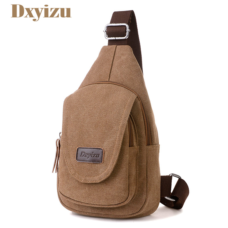 Men Daily Clutch Vintage Messenger Bag Casual Travel Rucksack Chest Bag Canvas Solid Cro ...