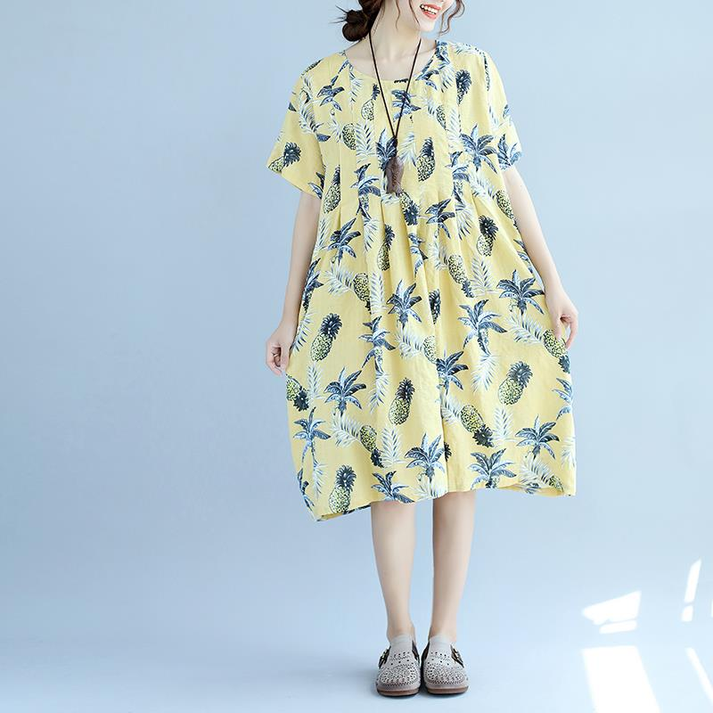 Plus Size Summer Dress Women Linen Floral Female Hawaiian Dress Beach Midi  Style Sweet Loose Large Size Yellow Fat Dress Cheap Evening Dresses Cheap  ...