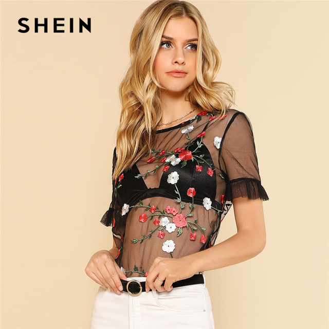 69b2a33ea8d1ce SHEIN Black Flower Embroidered Sheer Top Women Round Neck Short Sleeve  Ruffle Mesh Blouse 2018 Summer Sexy Going Out Blouse