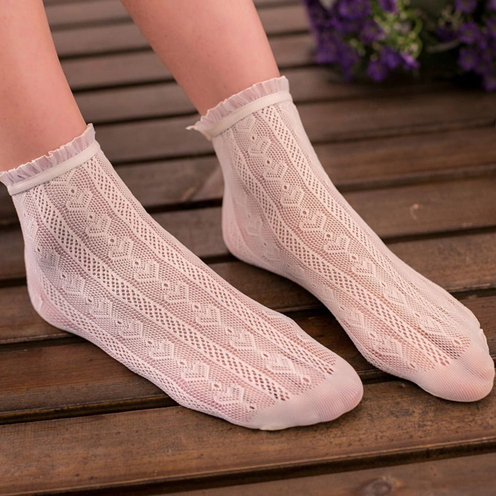 4 Colors High Quality Thin Cotton Hollow Out Thin Socks Women Lace Floral Invisible Ankle Sock Low Cut Heap Socks