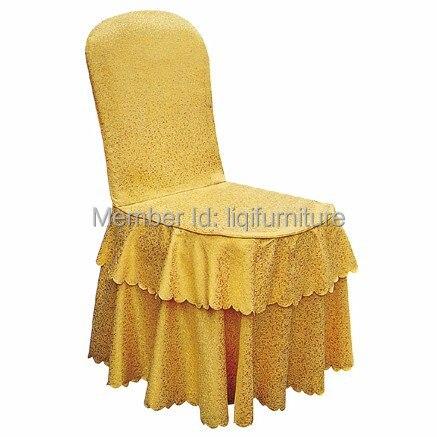 Gold Polyester Jacquard Stoel Cover Met Gold Strik Voor Banket