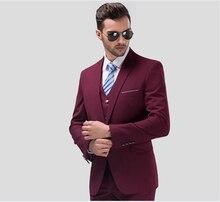 Burgundy Slim Fit Mens Suit Tailored Tuxedo Men For Wedding 3 Pieces Ternos Suits Blazer (Jacket+Pants+Vest)