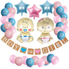 """ZLJQ Gender Reveal Party Pack Baby Shower Decorations """"Boy or Girl"""" Banner and Balloons Paper Flower Ball Pregnancy Announcement"""