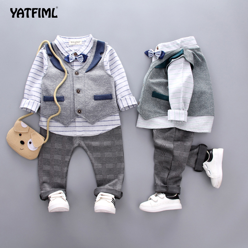 YATFIML Baby Clothes <font><b>Boys</b></font> suits for wedding Kids British Wind Birthday Dress Boygentleman suit Children clothing image