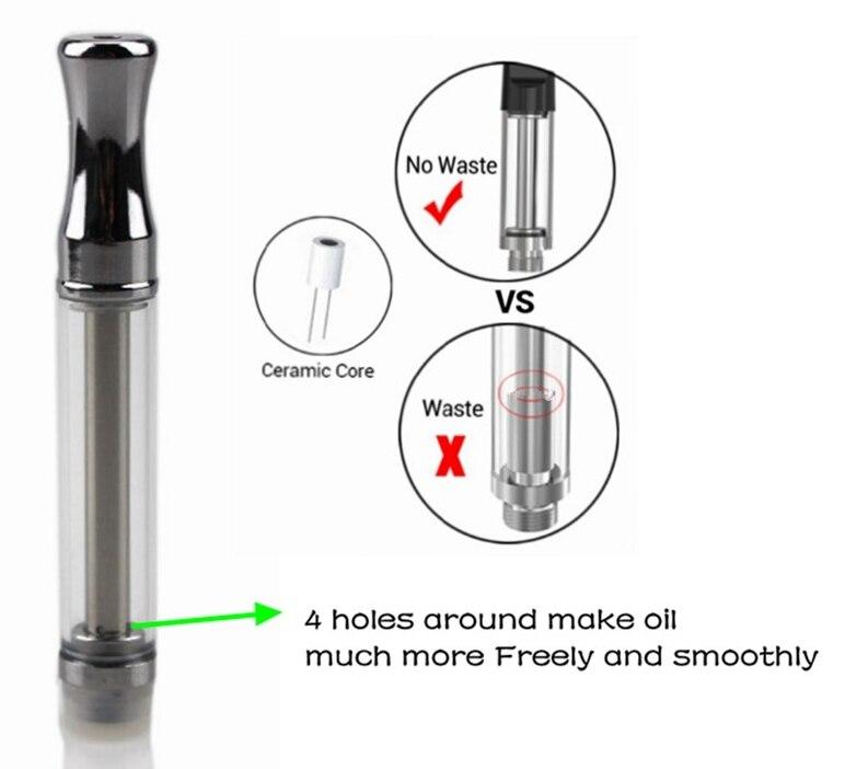 10pcs/lot 4 intake holes Ceramic Coil glass cartridge Vaporizer Pen Cartridge Ceramic coil A3 Round Tips for Thick CBD Oil CO2
