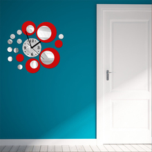 M.Sparkling circle 3D wall clock modern brief design mirrior sticker DIY home decoration self adhesive quartz wall clock