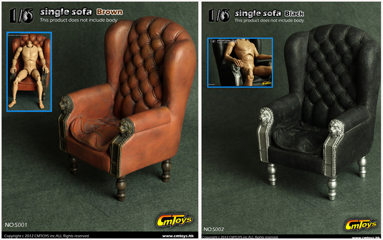 Retro 1/6 Scale  Single Sofa Armchair Couch Model Toys Collection Gift S001/S002 For 12