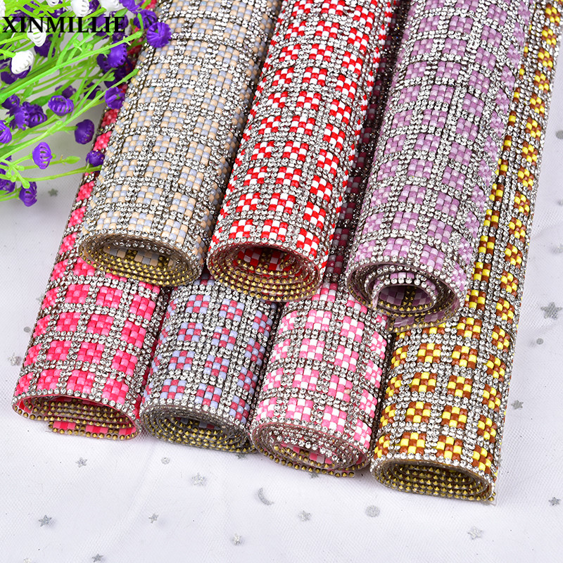 24*40cm/Sheet Rhinestone Mesh Strass Glass Round Clear Crystal Stone And Resin Beads Hotfix Or Self Adhesive Trimming Banding