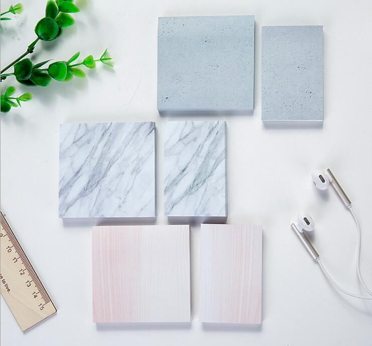 Creative Marble Stone Texture Self-Adhesive Memo Pad Daily Notepads #002 Escolar Papelaria School Supply Bookmark Post it Label