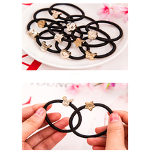10PCS Korean version of the hair accessories head flower ribs rope band rubber black tiara leather case