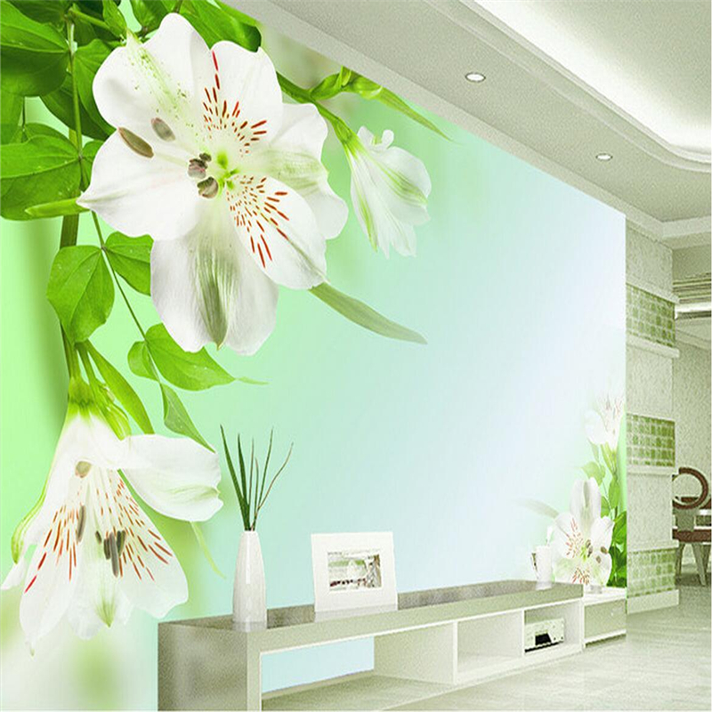 Custom Photo Wall Mural Clear Lily Photo Wallpapers with Flowers Boys and Girls Wallpaper for Children's Bedroom 3d Wall Mural custom european style wallpapers little angel fresco wallpaper for walls 3d hotel greek mythology mural western photo wallpapers