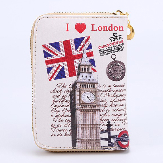 Women Wallets Zipper Lady Purses Cards Holder Short Coin Purse Eiffel Tower Pattern Wtis ...