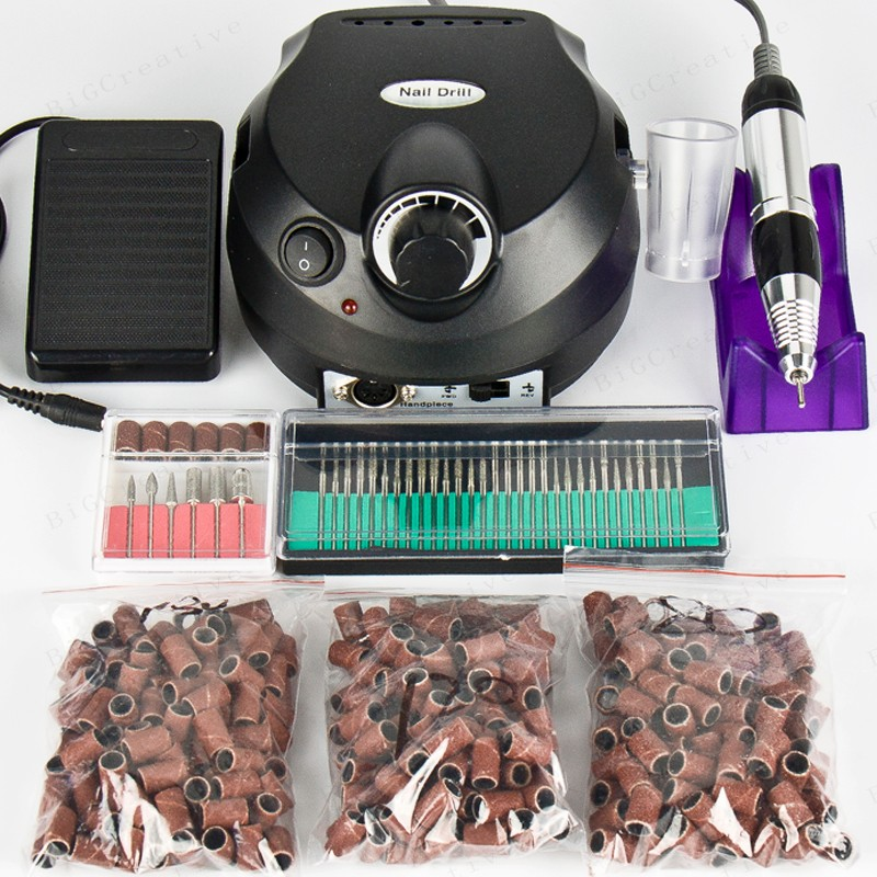 Nail Electric Drill Machine 30000RPM Nail Art Equipment Manicure Kit File 300pcs Sanding Bands+30pcs nail drill 3 3 300 30000