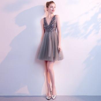 Mingli Tengda Elegant Sequined Bridesmaid Dresses Dark V Neck Lace Bridesmaid Dress Simple Backless robe demoiselle d'honneur