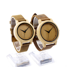 2016 Top brand Bobobird Brand Lovers Wooden Bamboo Watch Quartz Watch Real Leather Strap Mens Watches for Women with Gift Box