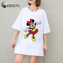 Summer Clothes Women Minnie Mickey Mouse Tops Tee Short Sleeve White Fashion Loose Cartoon Plus Size T Shirts Harajuku