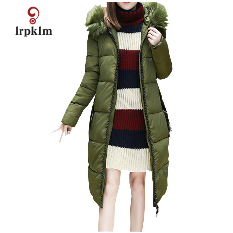 2017 Large Size New Long Winter Jacket Women 5XL Big Hair Collar Hooded Woman Cotton Fashion Atmosphere Red Black Parkas  LZ331 2017 new fashion women long cotton coats size s 2xl hooded collar warm parkas winter black navy green color woman parkas qh0449
