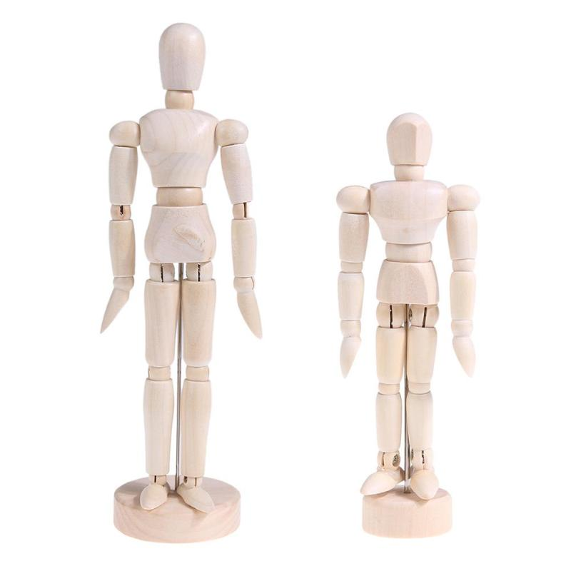 Wood Puppet Man Desktop Joint Body Model Ornament Movable Art Sketch Figure Action Figure And font