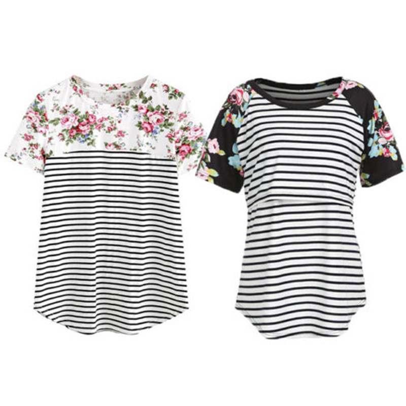 Maternity Clothings T Shirt New Woman Striped Short Sleeve Breastfeeding Floral T-shirt Mother Sleeveless Nursing Tops T-shirt