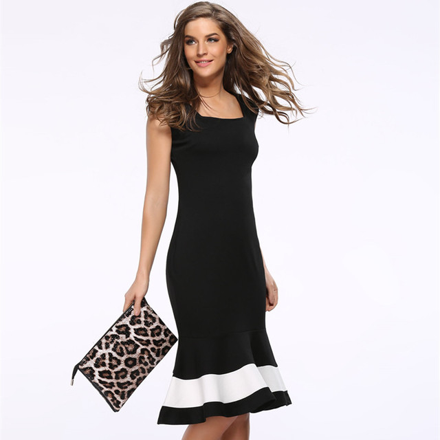 Women Midi Dresses Plus Size Clothes Woman 2018 Summer Black Bodycon