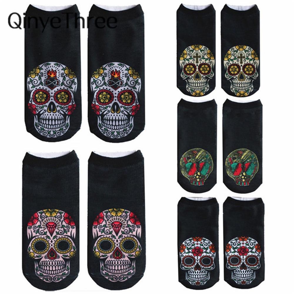 2018 New Arrival Women Low Cut Ankle Socks Funny Skull 3D Printing Sock Cotton Hosiery Gothic Punk Shantou Printed Sock