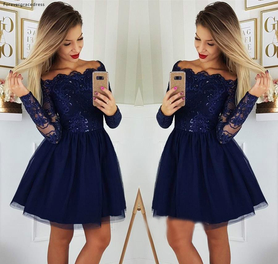Navy Blue Long Sleeves Cocktail Dresses A Line Knee Length Club Wear Graduation Homecoming Party Gowns Plus Size Custom Made