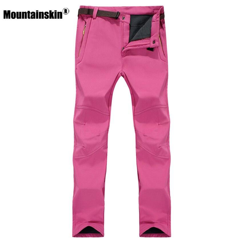 7XL Women's Winter Softshell Fleece Pants Outdoor Waterproof Hiking Camping Trekking Climbing Female Sportswear Trousers VB042