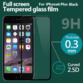 Full Screen Coverage Tempered glass Screen Protector For iphone 6 plus 5.5'' Screen Protective Film with Package Black + 1 Case