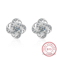 925 sterling silver zircon round circle stud earring in cz c
