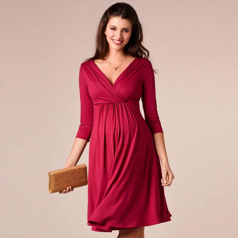 Maternity Dresses V-Neck Elegant Evening Dress For Pregnant Women Knee-Length Office Lady Business Dress Pregnancy Clothes купить в Москве 2019