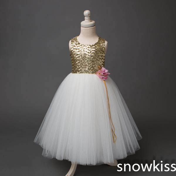 Ivory tulle bow knot flower girl dress O-neck gold sequin open back tutu birthday dresses