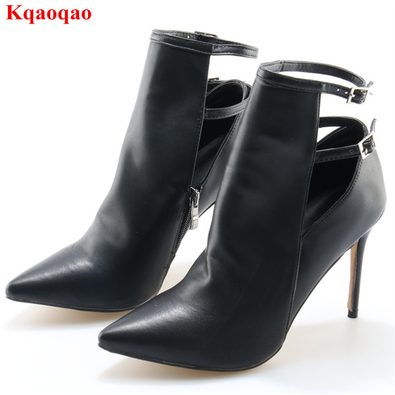 Pointed Toe Black Buckle Design Women Thin High Heel Women Boots Sexy Zipper Zapatos Mujer Party Casual Solid Botas Femeninas women t strap moccasins flat shoes low heel sandals black gray pink pointed toe ballet flats summer buckle zapatos mujer z193