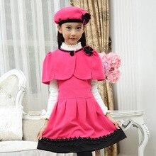 Большие девочки 2015 новая зимняя детская одежда жилет платье принцессы платье детей платье горячей партия