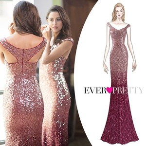 Image 4 - Robe De Soiree Longue Ever Pretty Cheap Little Mermaid Burgundy Red Sexy Evening Dresses Sequined Sparkle Plus Size Party Gowns