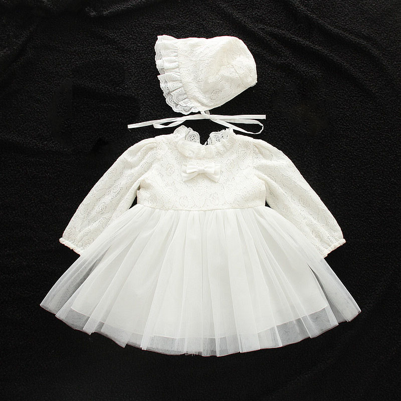 Baby Girls Birthday Dresses Long Sleeve Party Wedding Ball Gown Newborn Infant Christening Dress Kids Clothes for 0-2 Years baby girls red long sleeve full dress ball gown golden flower party wedding special princess kids dresses for girls clothes