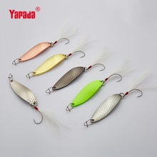 YAPADA Spoon 013 Loong Claw  Single HOOK+Feather 2g/3g/5g 32-38-45mm Multicolor 6piece/lot Metal Small Spoon Fishing Lures