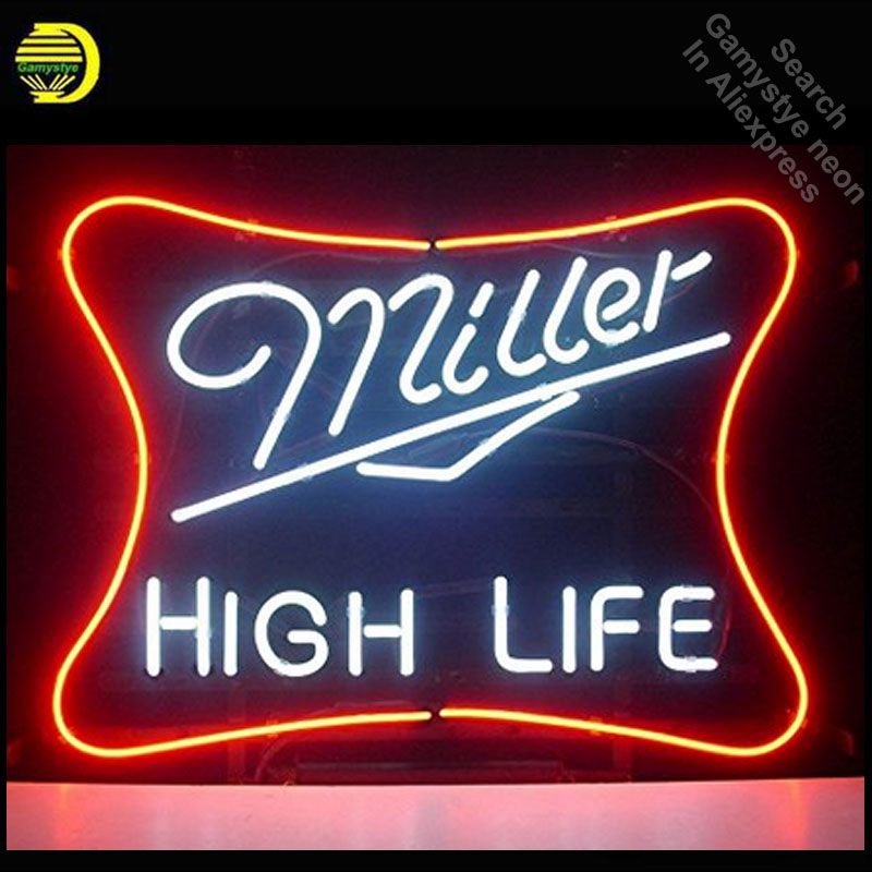 Miller Lite High Life neon Sign Glass Tube neon lights Recreation Coffee Windows Professiona Iconic Sign Advertise Motel Sign