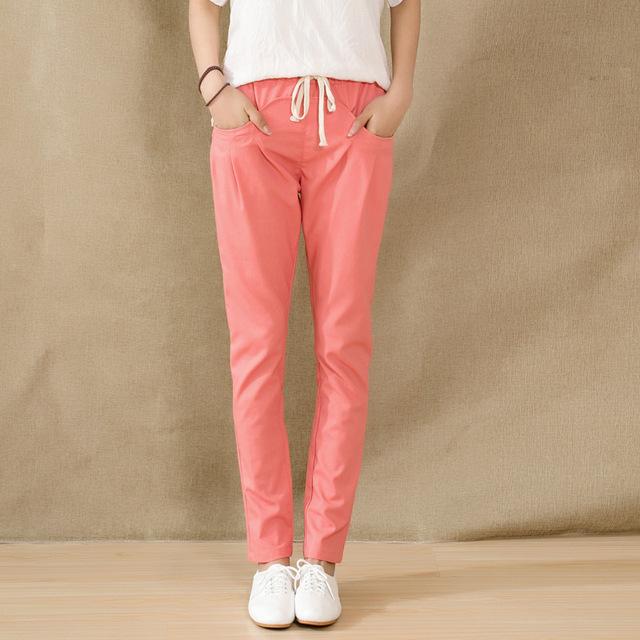 No Verão de 2016 Moda Mulheres de Linho das Mulheres Pantalon Haren Nove Calças de Todos Os Jogo de Cintura Elástica Soltas Calça Casual Calças